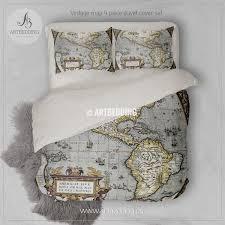 America Old map bedding Vintage old World map duvet cover set