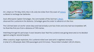 Where In Ireland Did The Lusitania Sink by Year 9 Ww1 History Revision What Were The Long Term Causes
