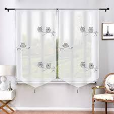 urijk transparent raffrollo gardine eule muster scheibengardinen mit quaste raffgardine vorhang fenster dekoration volie schal für wohnzimmer