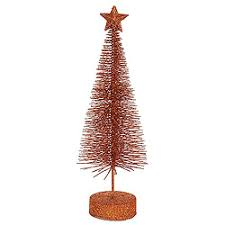 16 Inch Glitter Sisal Copper Artificial Christmas Tree With Star Unlit