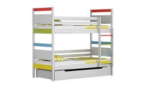 lit superposé en pin blanc multi avec 2 matelas inclus arrondis