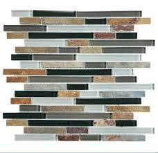 brown glass tiles mixed with brown metals and gray metal tiles to