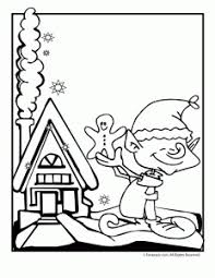 Christmas Elf With Gingerbread House Coloring Page