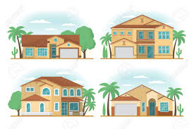 100 Houses F Set Of Rontview Of USA Arizona Style Suburban Private
