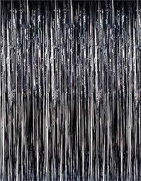 amazon com set of 2 black metallic foil fringe door window