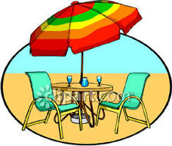 Patio Set In The Sand Royalty Free Clipart Picture