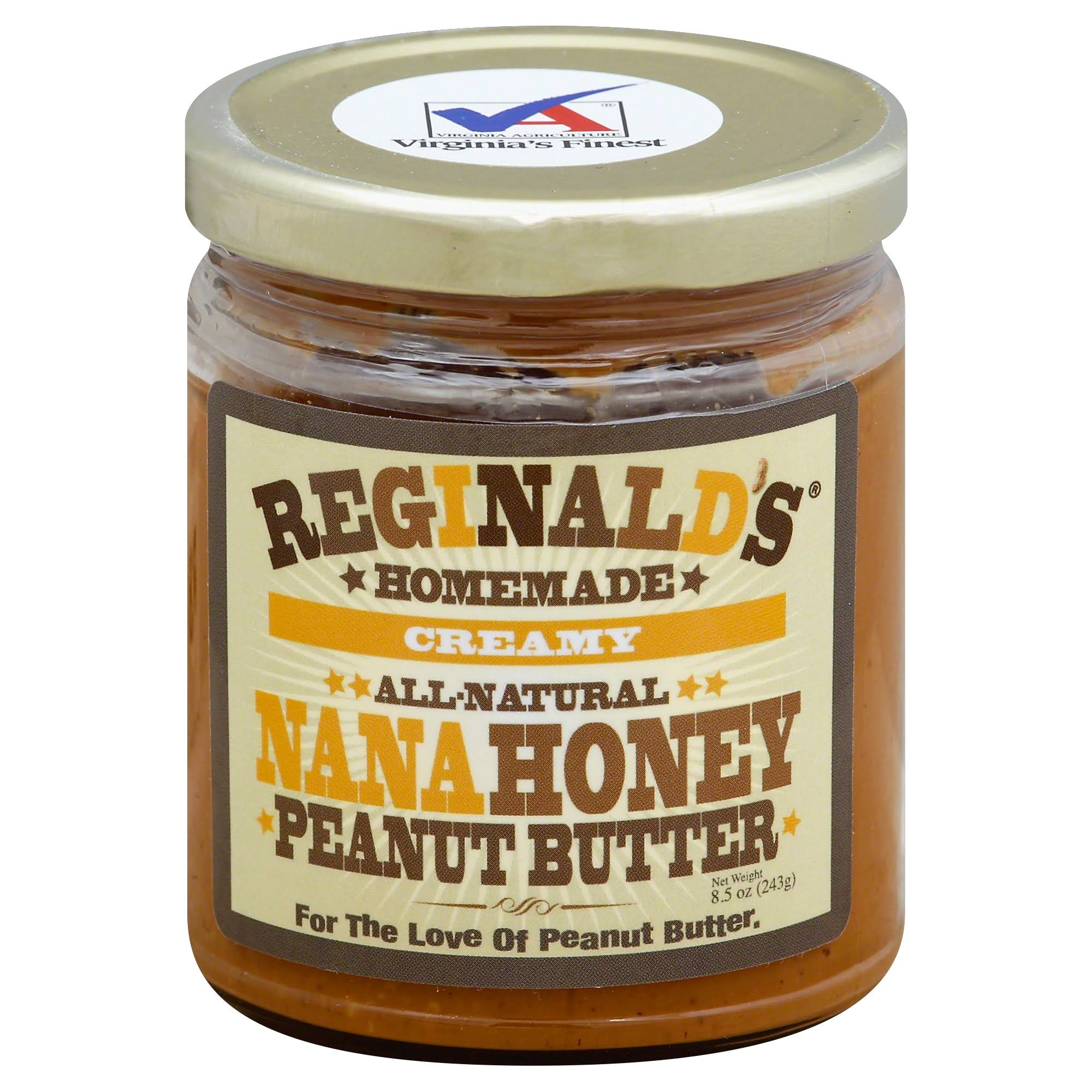 Reginalds Homemade Peanut Butter, Creamy, Nana Honey - 8.5 oz