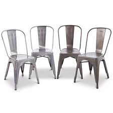 Set Of 2 Metal Chairs Rustic Dining Chair Steel Vintage Antique Style Flash Furn
