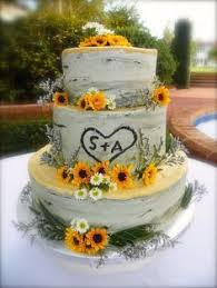 Creative Birch Wedding Cake Adorned With Sunflowers