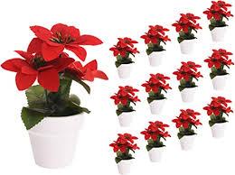 spetebo weihnachtsstern künstlich im topf 12er set tisch deko pflanze künstlich kunstblume adventsstern christstern poinsettie
