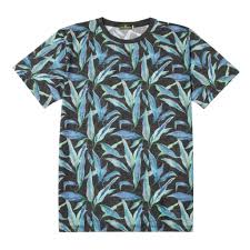 100 Coc Republic O Mens Lavender Leaf Tee In Black