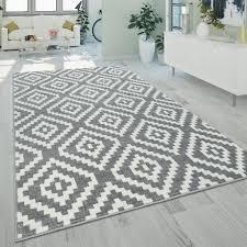 ethno teppich grau weiß wohnzimmer weich rauten muster strapazierfähig kurzflor grösse 70x140 cm