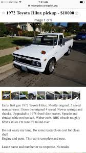 Craigslist Toyota Trucks Awesome 74 Best Hilux Rn10ç³ Images On ... 1960 Chevy Truck Heal Bumpsteer Driving You Instantly Amazoncom Search All For Craigslist Appstore For Android Extraordinary Ideas Dallas Cars Parts Dodge Used Heavy Duty Trucks On Pin By Art Molina On Pinterest Vintage Trucks Classic Private Junkyard Tourdivco Diamond T Ford Etc The Alburque Auto Nissan Armada Albq Sale 1957 Custom Cab Short Bed Step Side Gmc Extra Cabs Parts Toyota Best Resource Datsun Back Again With Blazer