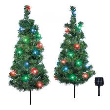 Solar Christmas Trees Outdoor Garden Stake Set With Multicolor