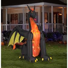 Halloween Blow Up Decorations For The Yard by Animated Giant Airblown Winged Fire And Ice Dragon Walmart Com