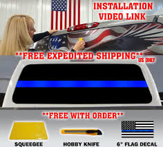 100 Police Truck Tab THIN BLUE LINE POLICE SUPPORT FLAG PICKUP TRUCK REAR WINDOW DECAL