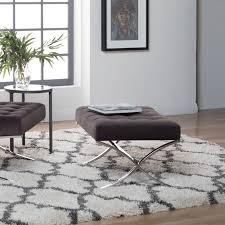 100 Studio Designs Home Atrium Velvet Tufted Ottoman