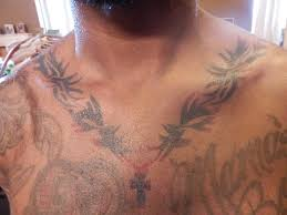 This Is A Picture Of An Airbrush Tattoo I Did Tribal Necklace With Cross In The Middle On My Client He Has Lot Tattoos His Chest