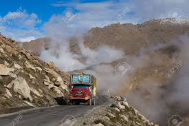 100 Valley Truck And Trailer LADAKH INDIA SEPTEMBER 07 2014 On The High Altitude