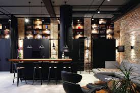 Rustic Industrial Home Decor With Dark Kitchen Decoration
