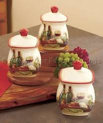 Kitchen Canister Sets On Vineyard Set Wine Bottle Grape Tuscan Theme Decor