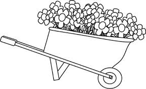 Black and White Wheelbarrow Filled with Flowers Clip Art Black Outlines Pinterest