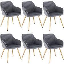 lestarain 6 stücke esszimmerstuhl küchenstuhl wohnzimmerstuhl sitzfläche aus samt polsterstuhl mit armlehne metallbeine polstersessel stuhl für