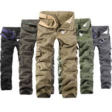mens fashion army cargo camo combat military work trousers casual