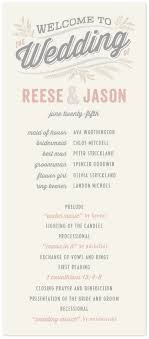 Rustic Charm Wedding Program Featuring Veneer Font