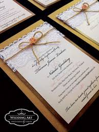 Rustic Wedding Invitation With French Lace Twine And Paper Rose Weddingart