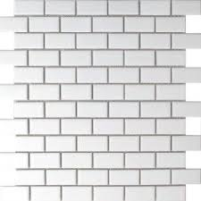 White Brick Bond Matt Mosaic Tiless