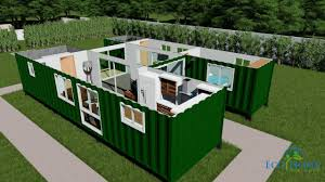 100 Designs For Container Homes SCH15 2 X 40ft Custom Home With Breezeway 3D Render Video