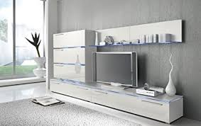 lifestyle4living anbauwand 7 tlg hochglanz weiß 2 x tv