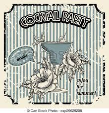 Vintage Cocktail Party Poster Vector