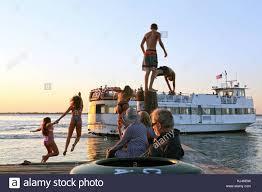 100 Fire Island Fair Harbor Teens Jumping Off Dock At Dusk NY