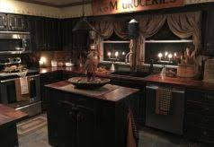 Kitchen Primitive Black Cabinets Home Design Ideasrhicpsorg Cute Distressed Country Curtains Base Wooden Cupboards Dining Table