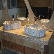 vasque en bois fossilisé naturelle