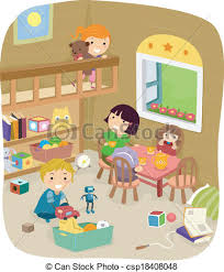 Illustration Of A Group Kids Playing In The Play Room