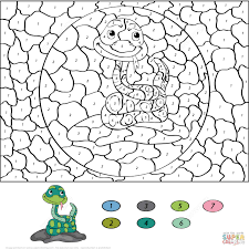 Cartoon Snake Color Number Printable Coloring Pages Click The View Adult Unicorn Free By Addition Multiplication