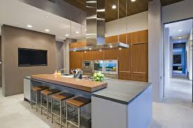 Modern Kitchen In Upscale House With Breakfast Bar Island