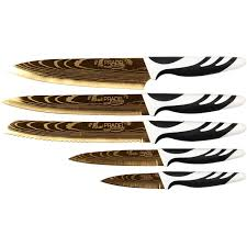 coffret couteau cuisine coffret de 5 couteaux de cuisine pradel revêtement titane doré