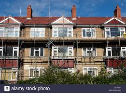 99 Houses For Refurbishment Council Houses Under Refurbishment With Scaffoldings England