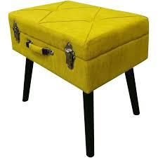 sitzbank b412759 11 bank holzfüße 50x35x45cm cord stoff gelb bhp möbel