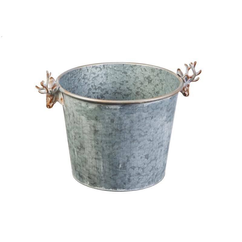 Evergreen Galvanized Round Planter with Deer Handles