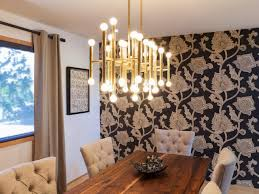 Dining Room Angelic Decorating Ideas Using Brown Loose Curtains And Cylinder White Glass Chandeliers Also