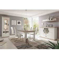 lomadox esszimmer set ferna 61 spar set 5 tlg esszimmer set im landhaus stil dekor pinie weiß und oslo dunkel nb mit vitrine und led ohne