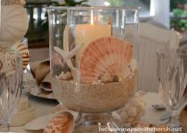 Shell Centerpiece For Beach Themed Table Setting Tablescape