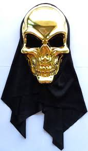 Purge Mask Halloween by Steampunk Funny Halloween Skull Head Bag Black Golden Mask Chain
