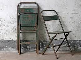 Vintage Metal Folding Chair - Green