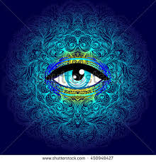 Sacred Geometry Symbol With All Seeing Eye In Acid Colors Mystic Alchemy Occult